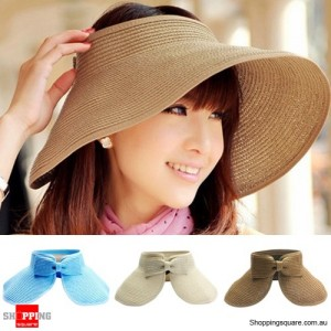 Womens Summer Wide Brim Roll Up Foldable Sun Beach Hat Coffee Colour