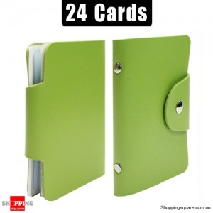Mini Leather Business Name Card Credit Card Holder Book up to 24 cards Green Colour