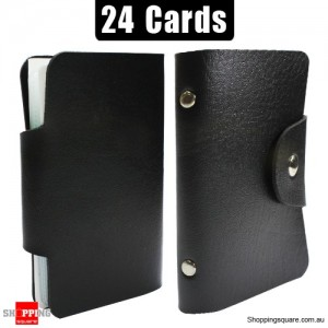 Mini Leather Business Name Card Credit Card Holder Book up to 24 cards Black Colour