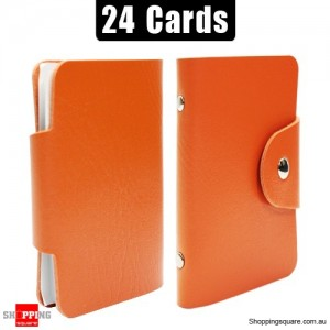 Mini Leather Business Name Card Credit Card Holder Book up to 24 cards Orange Colour