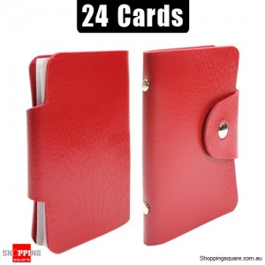 Mini Leather Business Name Card Credit Card Holder Book up to 24 cards Red Colour