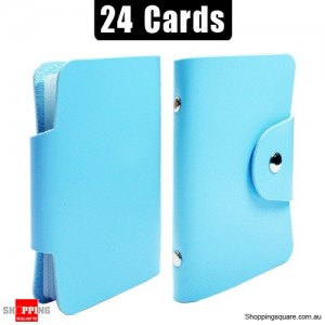 Mini Leather Business Name Card Credit Card Holder Book up to 24 cards Blue Colour
