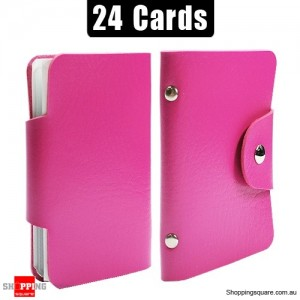 Mini Leather Business Name Card Credit Card Holder Book up to 24 cards Pink Colour