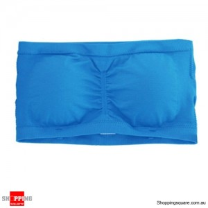 Ladies Strapless Boob Tube Top Padded Bra Size 12 Blue Colour