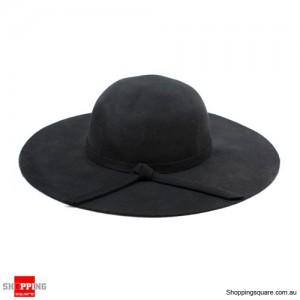 Women Ladies Floppy Wide Brim Wool Felt Fedora Hat Black Colour