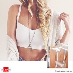 Sexy Spaghetti Strap Hollow Crop Bustier Vest Bra Tops White Colour