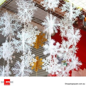 6PC Nice White Glittered Snowflake Ornament for Christmas Decoration