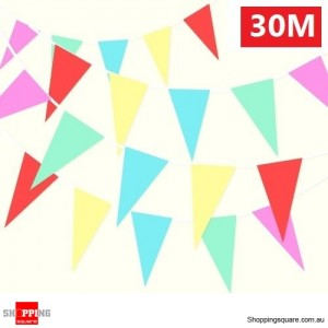 30M Colourful Triangle Flag Bunting for Christmas and Party Decoration