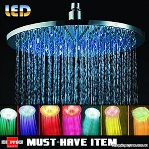 Stainless Steel 20cm RGB LED Light Rain Shower Head for Bathroom