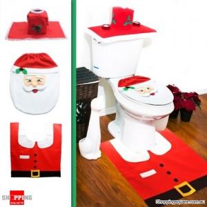 Santa Toilet Lid Cover + Tank & Tissue Box Cover + Rug set for Bathroom Christmas Decoration