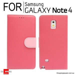 Wallet leather Case for Samsung Galaxy Note 4 N910 Red Colour