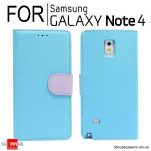 Wallet leather Case for Samsung Galaxy Note 4 N910 Blue Colour