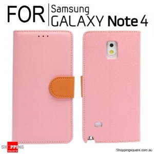 Wallet leather Case for Samsung Galaxy Note 4 N910 Pink Colour