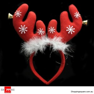 Christmas Red Antlers Headband with Jingle Bells and Snowflakes