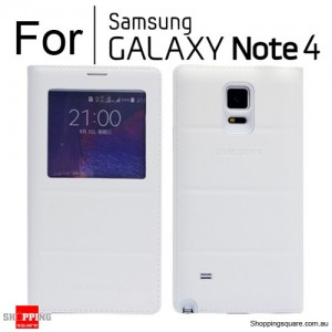 Thin Flip Window Cover for Samsung Galaxy Note 4 N910 White Colour