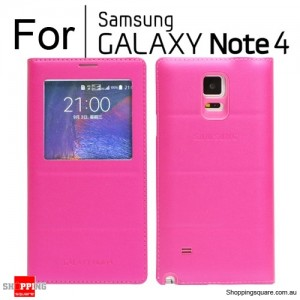 Thin Flip Window Cover for Samsung Galaxy Note 4 N910 Red Colour
