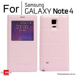 Thin Flip Window Cover for Samsung Galaxy Note 4 N910 Pink Colour