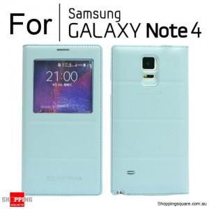 Thin Flip Window Cover for Samsung Galaxy Note 4 N910 Blue Colour