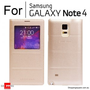 Thin Flip Window Cover for Samsung Galaxy Note 4 N910 Gold Colour