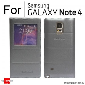 Thin Flip Window Cover for Samsung Galaxy Note 4 N910 Grey Colour
