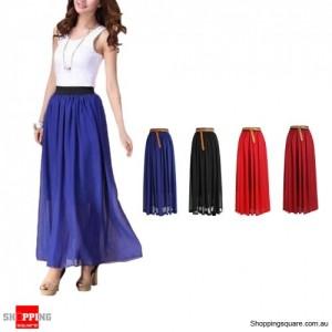 Women Double Layer Chiffon pleated Retro Long Dress Blue Colour