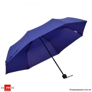 Windproof Mini Compact Folding Handbag Umbrella Deep Blue Colour