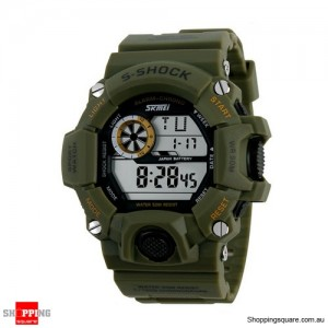 Men Outdoor S-SHOCK Waterproof Diving Digital Sports Watch Green Colour