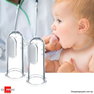 One Pair Baby Infant Soft Silicone Finger Toothbrush