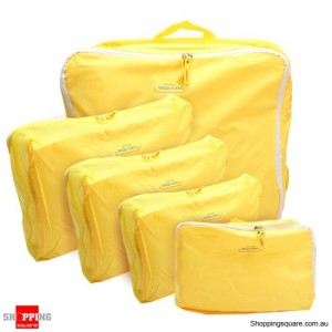 5x Traveller's Luggage Organizer Bag Yellow Colour