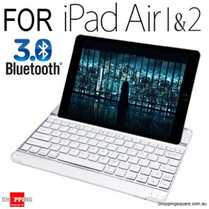 SmartBuddy Aluminum Bluetooth 3.0 Keyboard Case for iPad Air 1 & 2 White Key