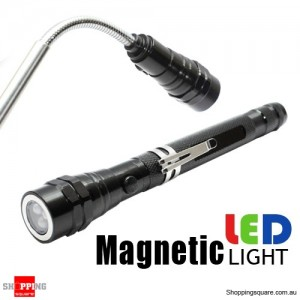 3 LED Flexible Telescopic Torch Magnetic Flashlight Black Colour