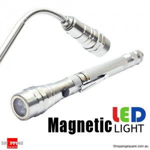 3 LED Flexible Telescopic Torch Magnetic Flashlight Silver Colour
