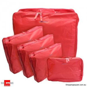 5x Traveller's Luggage Organizer Bag Red Colour