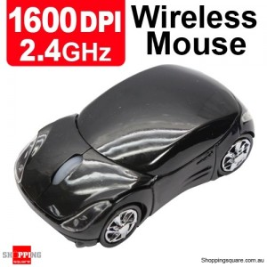 2.4GHz 1600DPI Optical Wireless Car-Shape Mouse Black Colour