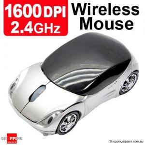 2.4GHz 1600DPI Optical Wireless Car-Shape Mouse Silver Colour
