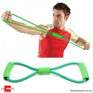 Durable Resistance Bands Tube Workout Exercise for Yoga 8 Type Green Colour