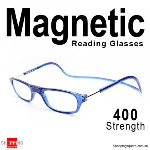 Hanging Reader Front Connect Magnetic Reading Glasses Strength 400 Blue Colour
