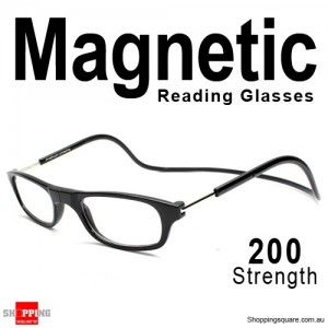 Hanging Reader Front Connect Magnetic Reading Glasses Strength 200 Black Colour