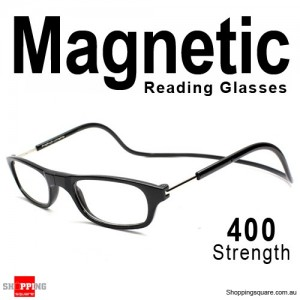 Hanging Reader Front Connect Magnetic Reading Glasses Strength 400 Black Colour