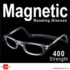Hanging Reader Front Connect Magnetic Reading Glasses Strength 400 White Colour