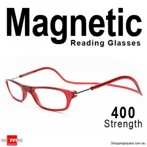 Hanging Reader Front Connect Magnetic Reading Glasses Strength 400 Red Colour