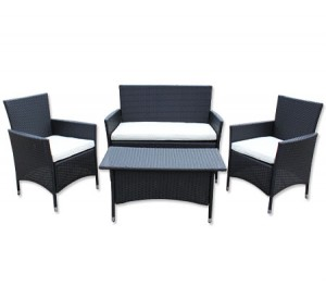 Rattan PE Wicker 4-Seater Complete Sofa Lounge Set - 2 x Single Seater + Double Sofa + Coffee Table