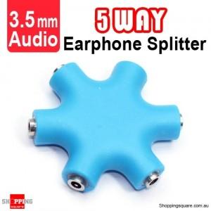 5-Way Mini Earphone Splitter 3.5mm Audio Blue Colour
