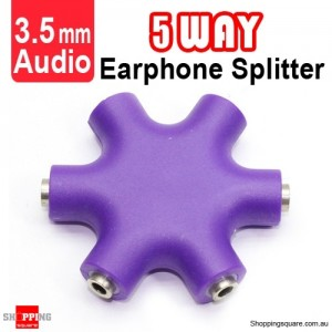5-Way Mini Earphone Splitter 3.5mm Audio Purple Colour