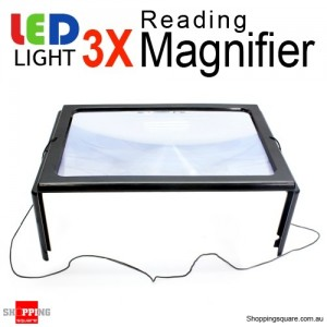 3X Large Hands Free Magnifying Sheet Glass with LED Light for Reading