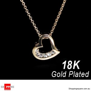 18K Rose Gold Plated Crystal Love Heart Pendant Necklace Rose Gold Colour