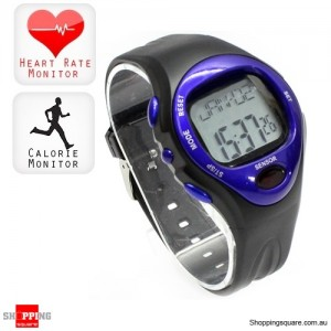 Fitness Pulse Heart Rate Monitor Calorie Counter Sports Watch Blue Colour