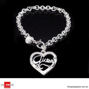 Women 925 Sterling Silver Filled Bracelet Guess Heart