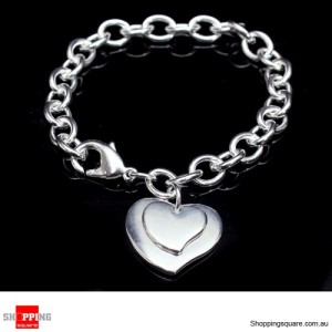 Women 925 Sterling Silver Filled Bracelet Double Heart