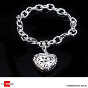 Women 925 Sterling Silver Filled Bracelet Filigree Heart